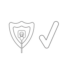 Icon concept shield with plug plugged into vector