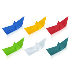 isometric colorize set origami paper boats on vector image
