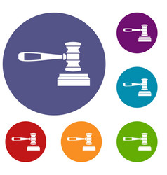 Judge gavel icons set vector
