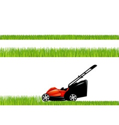 Lawnmower with grass vector