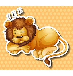 Lion sleeping on polkadots background vector