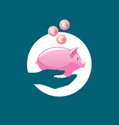 Logo piggy bank vector