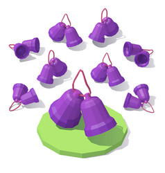 lowpoly christmas toy bells vector image