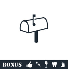 Mailbox icon flat vector