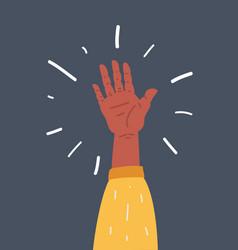 man hand on dark background vector image