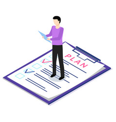 Man with clipboards is looking at to-do list paper vector