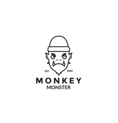Monkey monster with tooth logo design vector