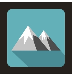 Mountains with snow icon flat style vector