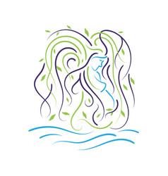 natural green beautiful pregnant woman logo vector image