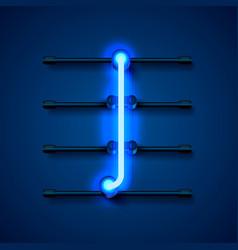 Neon font letter i art design signboard vector