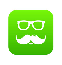 nerd glasses mustaches icon green vector image