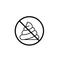 No shit line icon dont feces prohibition sign vector