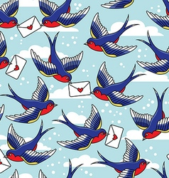 old school seamless pattern with birds and vector image