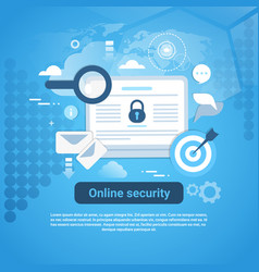 Online security template web banner with copy vector