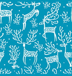 ornate deers seamless pattern for your design vector image