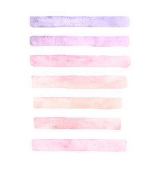Painted watercolor set of pink brushstrokes vector