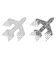 Polygonal wire frame mesh jet plane and mosaic vector