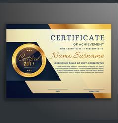 Premium luxury certificate achievement design vector