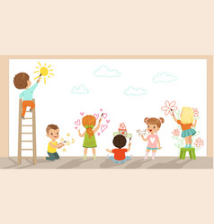 Preschool kids painting with brushes and paints on vector