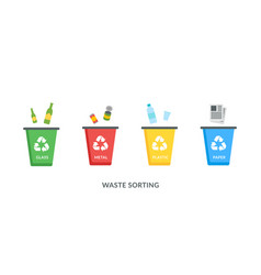 recycle bins for plastic paper glass metal vector image