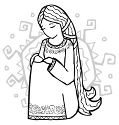 Sad ethnic style girl with sun at her back vector image