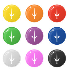 Sai weapon icons set 9 colors isolated on white vector