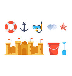 sandcastle with beach toys pail and shovel vector image