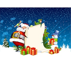 santa claus and snowman standing next to a scroll vector image