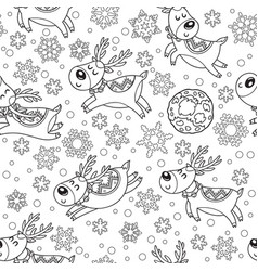 Seamless pattern with christmas deers in outline vector