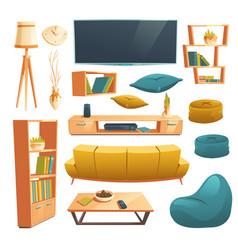 set cartoon furniture for living room vector image