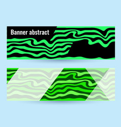 set horizontal color banners with green waves on vector image
