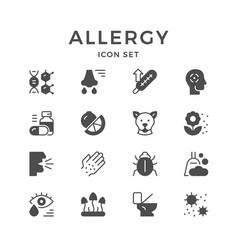 set icons of allergy vector image
