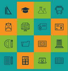 set of 16 education icons includes certificate e vector image