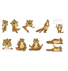 Set of cute beavers vector