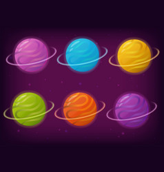 set of fantasy galaxy planets vector image