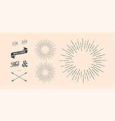 set of sunburst vintage graphic elements vector image