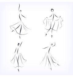 Set of symbolic ballet dancers vector image