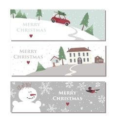 Set of three website horizontal winter banners vector image