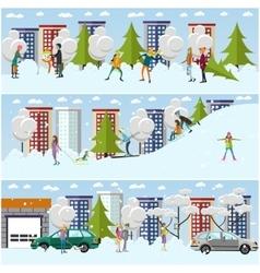 Set of winter activities concept design vector