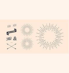 set sunburst vintage graphic elements vector image