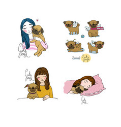Set with a girl and a pug lovely cartoon pet a vector