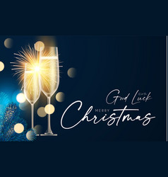 Shining champagne merry christmas and happy new vector