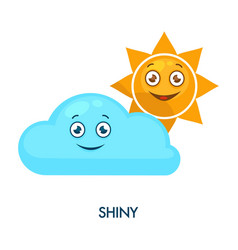shiny sun and cute cloud with cheerful faces vector image