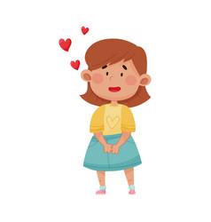 Short haired girl in blue skirt falling in love vector