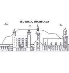 Slovakia bratislava architecture line skyline vector