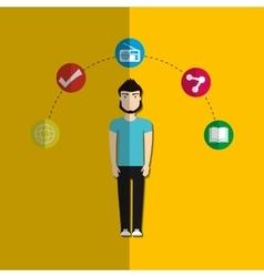 Social media male cartoon vector image