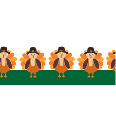 turkey seamless border cute thanksgiving vector image