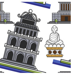 vietnamese architecture building and buddha statue vector image