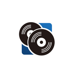 Vinyl icon logo disc music symbol vector