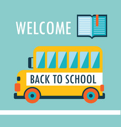 welcome back to school background flat design vector image